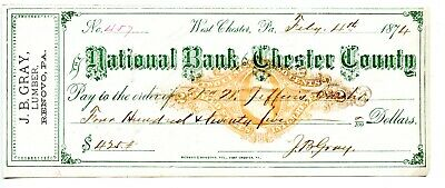 1874. West Chester, PA National Bank of Chester County  Revenue Bank Check RNL6.