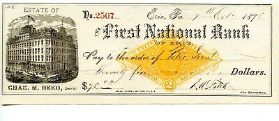 1878.  Erie, PA. First National Bank.    Revenue Bank Check RNG1
