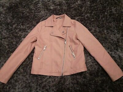 George Girls Pink Leather Look Biker Jacket  7-8 Years