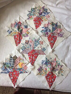6 Bridal Bouquet Quilt Blocks Made Of Vintage Feedsack/vintage Cotton Fabric