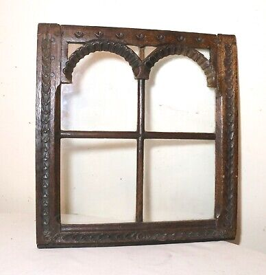 rare antique 17th century carved wood architectural salvage window sculpture art