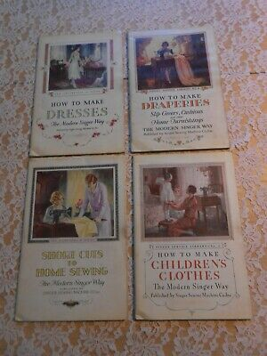 Antique 1920s Singer Sewing Library 4 Books in Cardboard open Folder~Childrens +