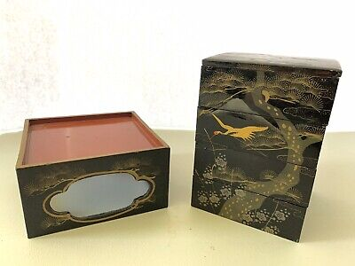 Vintage Japanese Wooden Lacquer Serving Box and Tray (E40)