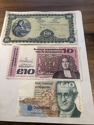 Series A, B, and C Ireland Republic £10 banknotes - Nice Circulated Collection