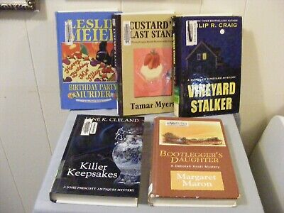 Lot of 5 COZY MYSTERIES - LARGE PRINT Different Authors -5 Ex-Lib HBs FREE SHIP