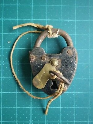 Padlock With Key Vallet Antique Metal And Brass Locksmith 19th #S Old Lock Kees
