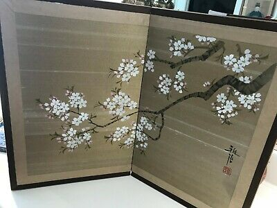 Estate Japanese Small Hand Painting Cherry Blossom Screen Signed