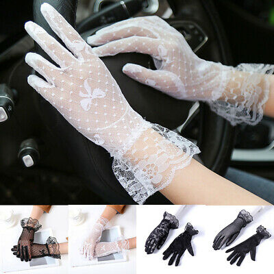 Women Summer Thin Gloves Sunscreen Anti UV Wedding Driving Mesh Lace Embroidered