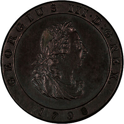Isle of Man 1798 1/2 Penny GLOSSY ABOUT UNC