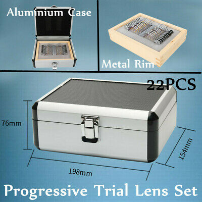 22x Optical Trial Lens Set Progressive Lens Metal Rim AluminiumCase OptometryNew