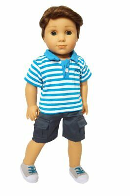 Blue Polo Doll Outfit Fits 18 Inch American Girl Logan Boy Doll Clothes