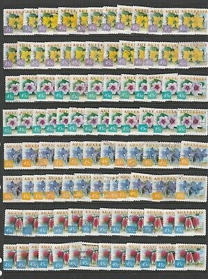 1999 Nature of Aust. 25 each of the 4 lots of 45 cent. Used stamps. See Photos