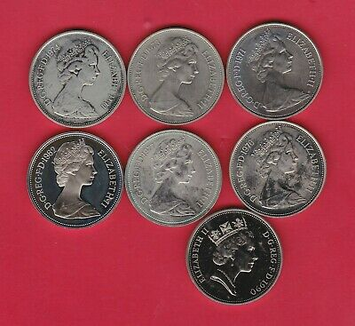 Seven Large Proof Ten Pence Coins 1971 To 1990 In Near Mint Condition