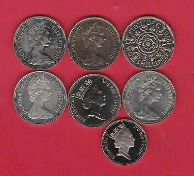Seven Large Proof Ten Pence Coins 1970 To 1995 In Near Mint Condition