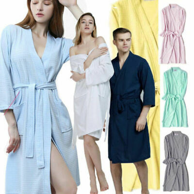 Mens Ladies Robe Summer Waffle Bath Lightweight Cotton Dressing Gown House Coat