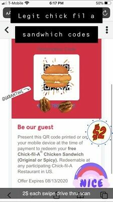 1-99 Chick fil A Food Gift Card Chicken Sandwich Regular or Spicy, NEVER EXPIRES