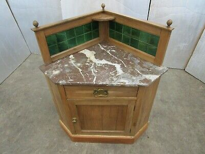 Antique Marble topped Corner Wash Stand Cupboard
