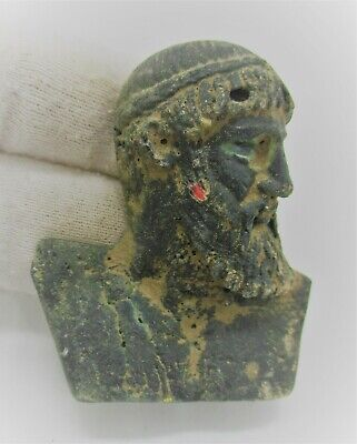 European Finds Ancient Roman Bronze Plaque Senatorial Head