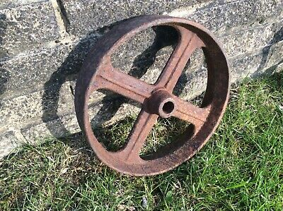 Single heavy good quality vintage antique cast iron wheel