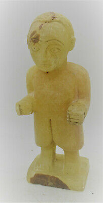 Scarce Ancient Near Eastern Chalcedony Carved Worshipper Statuette 2000Bce