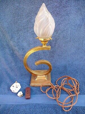 Antique Art Deco Brass Table Lamp+Torch Flame Glass Unfinished Project repair