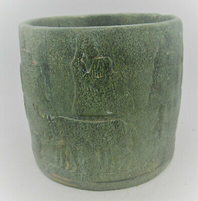 Circa 2000Bc Ancient Near Eastern Chlorite Stone Vessel Depictions Of Worshipper