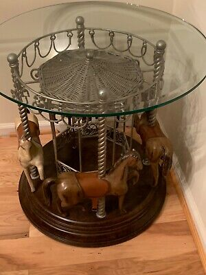 2 Horse Carousel glass top / walnut base end tables