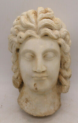 Ancient Roman Marble Head Statue Fragment Senatorial Male Head Circa 200-300Ad