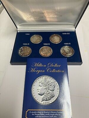 Collectible MILLION DOLLAR MORGAN COLLECTION OF 5 SILVER CLAD PROOF SET W/CASE !