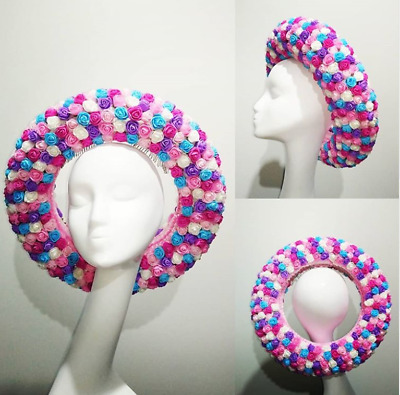 Ring of roses in pinks, purple, blue & white roses doughnut millinery fascinator