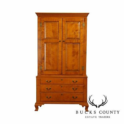 Eldred Wheeler Tiger Maple Chippendale Style Armoire Linen Press