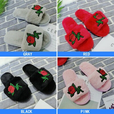 Ladies Girls shoes Winter Warm Soft Floral Slip On Slippers Home Comfy