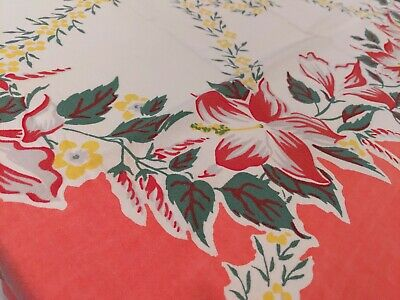 Vintage Colorful Cotton Tablecloth 40s 50s Hibiscus Floral SIMTEX 52X46