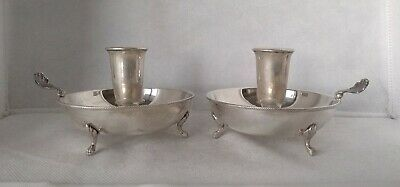 Coppia Bugie Argento 800 Solid Silver Pair Chambersticks 1950 Circa