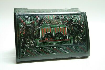 Vintage Antique Hand Painted Black Lacquered Box