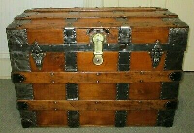 Antique Steamer Trunk Vintage Victorian Classic Flat Top Wood Chest W/Key C1880