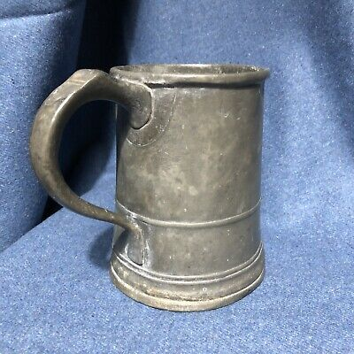 Large Antique Quart Pewter Tankard With Indecipherable Markings Rustic Bygone