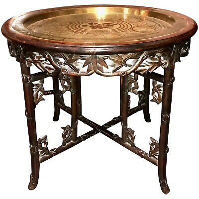 Chinese Foliate Carved Hardwood Folding Table with Brass Tray Top