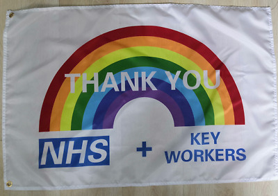 THANK YOU NHS & KEY WORKERS SUPPORT FLAG 3 x 2 WE DONATE TO HELP THE NHS
