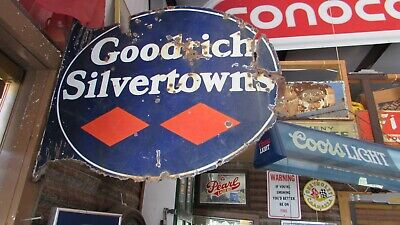 Original Porcelain Goodrich Silvertowns Flange Sign