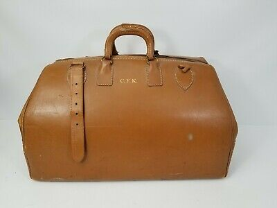 Vintage Cowhide Leather Doctor Bag Crest Lock Co