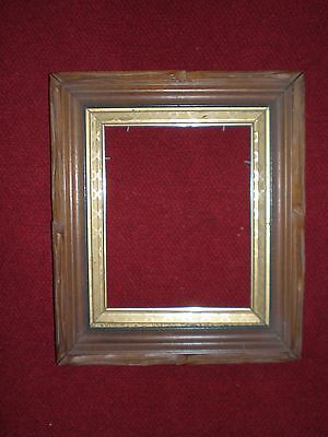 Antique 1800s Carved Deep Well Walnut Frame 10-1/4 x 8-1/4 Opening
