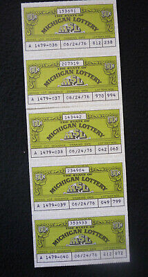 5 Vintage 50 cent Michigan Lottery Tickets 1976 Series A  812238