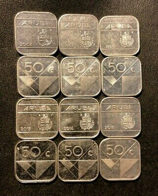 Old ARUBA Coin Lot - 12 AWESOME Square 50 Cent Coins - Lot #M20