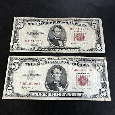 1953-B & 1963 $5 PAIR of RED SEALS Great U.S. NOTES OLD Currency @ NO RESERVE!!