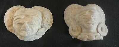 A Pair Of Finely Molded Heads Of Two Pre-Columbian Maya Nobles