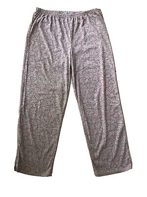 Laura Scott Womens Gray Heart Fucsia Print Pajamas Bottoms Lounge Pants Size L/G