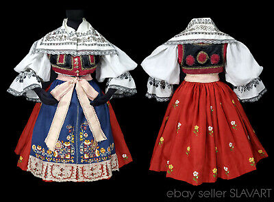 Antique Czech folk costume Moravian kroj embroidered blouse apron skirt vest old