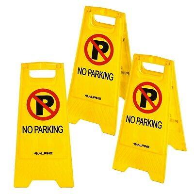 Alpine Industries Two-Sided Fold-Out No Parking Signs, Pack of 3 - Portable...