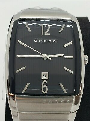 Cross Stainless Steel Rectangular Date MEN'S WATCH With Box Great Condition